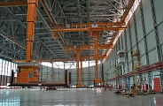 Inside the hangar
